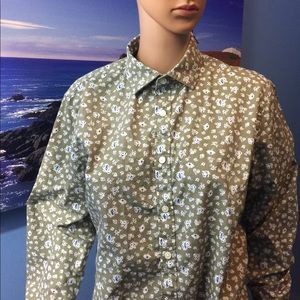 Express olive floral button down career shirt